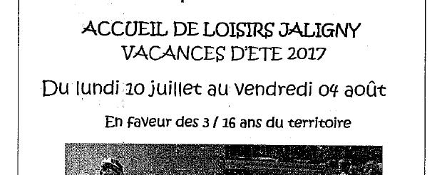 L'accueil de loisirs de Jaligny sur Besbre ouvrira ses portes à partir du lundi 10 juillet jusqu'au vendredi 04 Août 2017. Ci-joint, les jours de permanences pour finaliser les inscriptions. […]