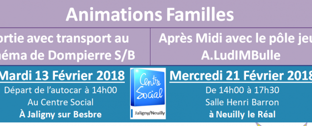 Le Centre-Social Jaligny Neuilly propose des animations familles pendant les vacances scolaires. Une sortie cinéma et un après midi jeux. (Pour la sortie cinéma un arrêt à Neuilly le Réal […]